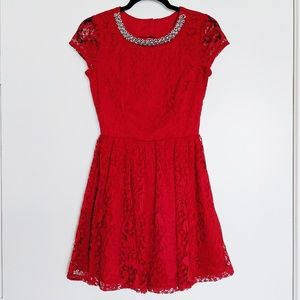 Trixxi    Red Lace Formal Dress